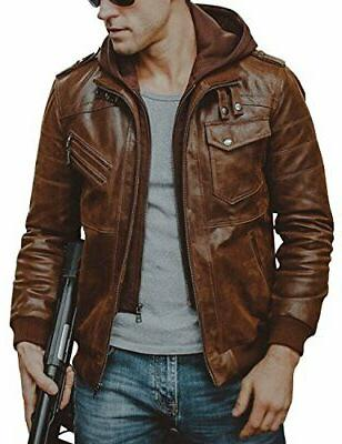 men brown leather motorcycle jacket with removable