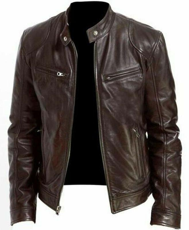 Mens Motorcycle Jacket Coat Stand Collar Faux