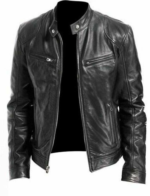 Mens Motorcycle Leather Jacket Faux Outwear