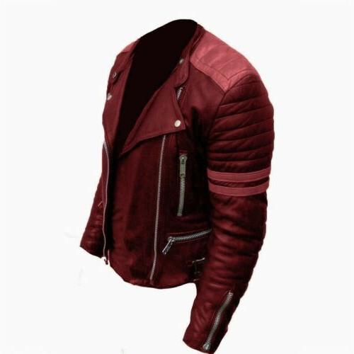 Men Faux Leather Jacket Coats Fashion Patchwork