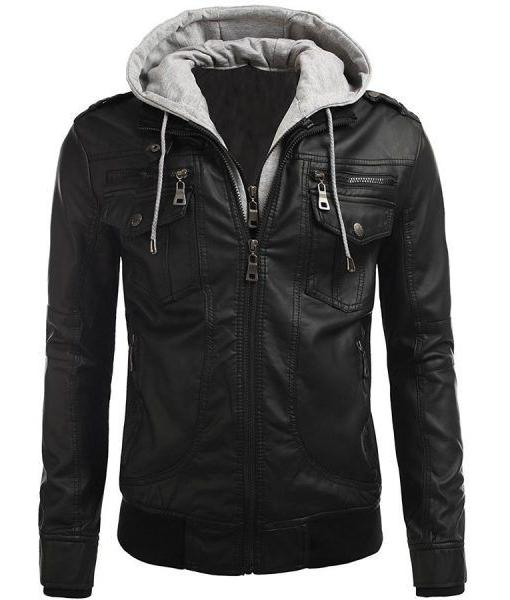 Men Genuine Leather Motorcycle Jacket Bomber Biker Hoodie Ja