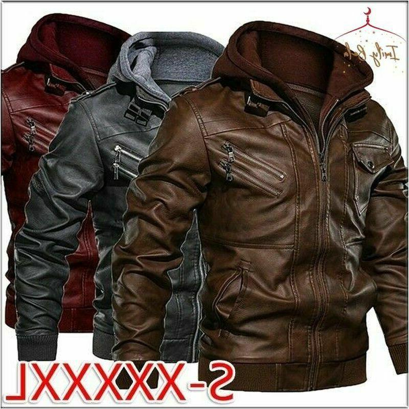 men hooded faux leather jacket casual fit