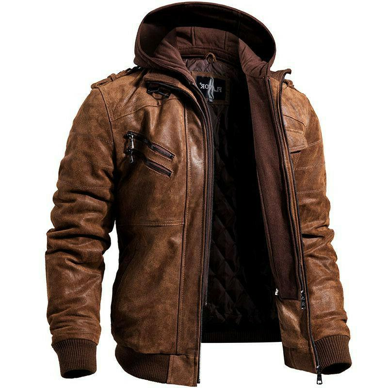 men hooded leather jacket casual slim fit