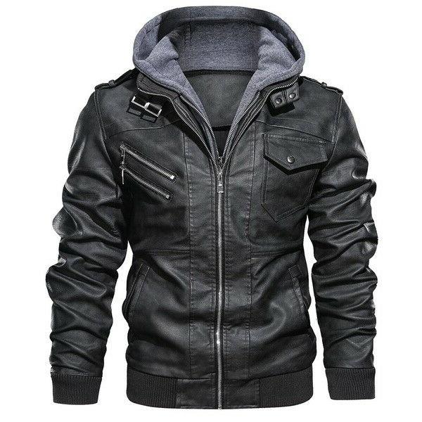 Men Hooded Leather Casual Fit Jackets Zipper