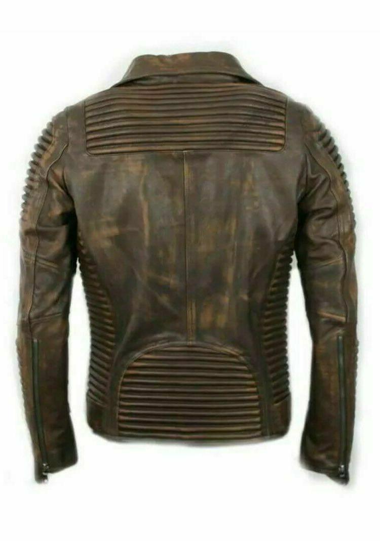 Men's Vintage Quilted Motorcycle Racer Leather