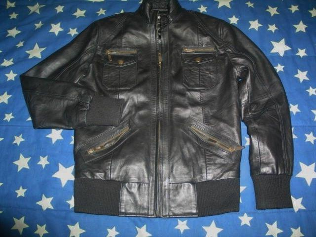 men s black genuine lambskin leather biker
