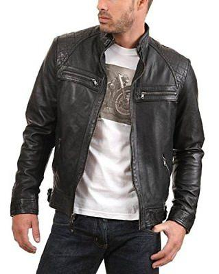 men s black genuine lambskin leather jacket