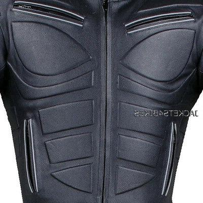 Men's Blade Motorcycle Riding Leather Armor Biker Jacket Black