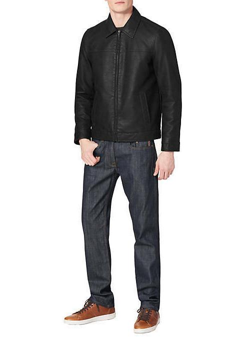 TOMMY LEATHER COAT M XXL BLACK NEW MSRP