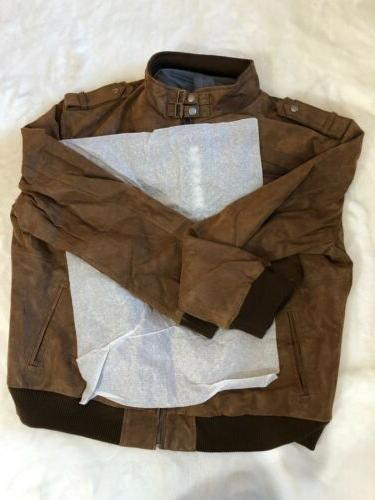 FLAVOR Brown Leather Motorcycle with Hood,