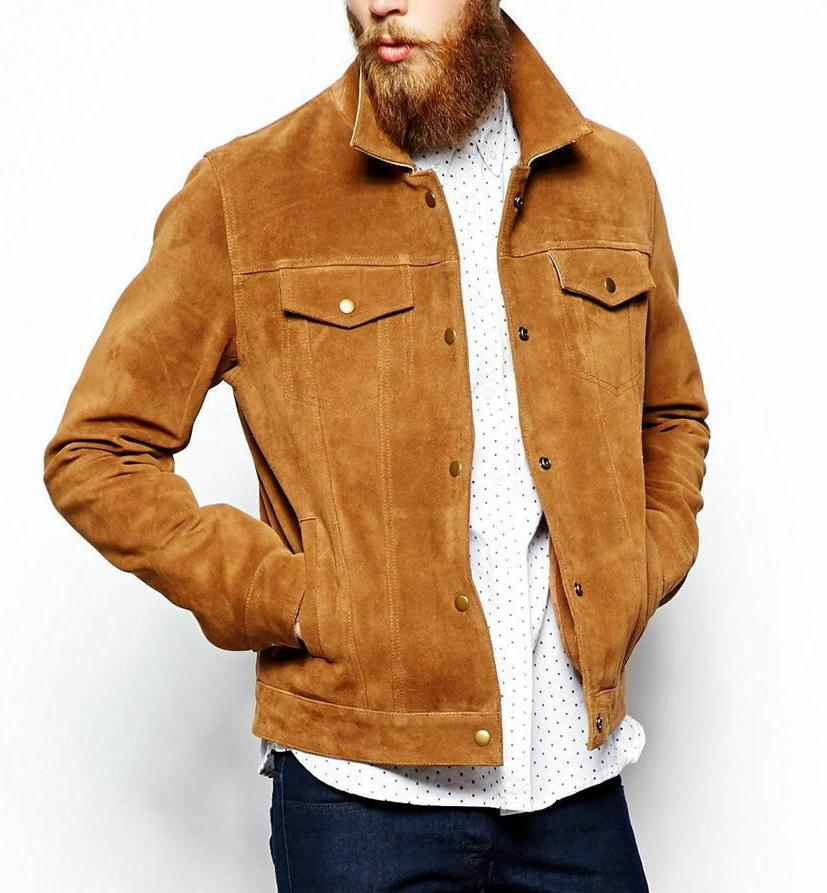 men s brown suede leather jacket slim