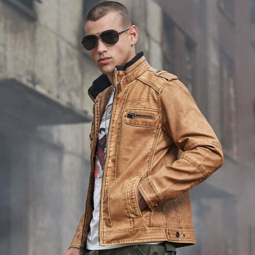 Men's PU Faux Bomber Jacket Motocycle