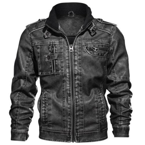 Men's Casual PU Faux Motocycle