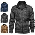 Men's Casual Leather Stand Zollar Zipper Pocket Motorcycle B