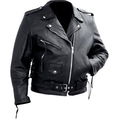 Men's Classic Motorcycle Biker Jacket Coat Black Genuine Cow
