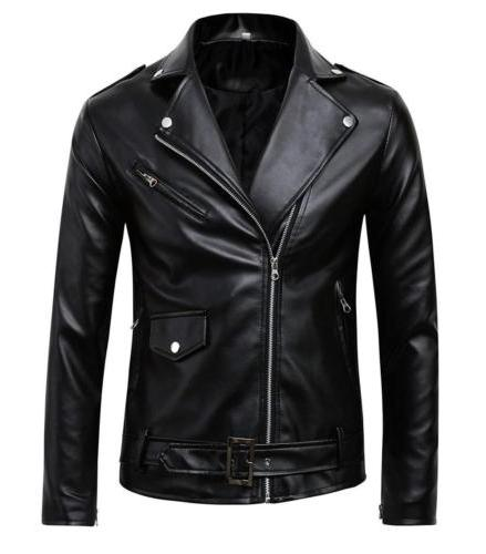 Benibos Men's Police Style Faux Leather Jacket