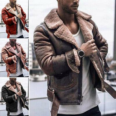 Men Long Sleeve Vintage Coat Faux Fur Thick Jacket Lapel Col