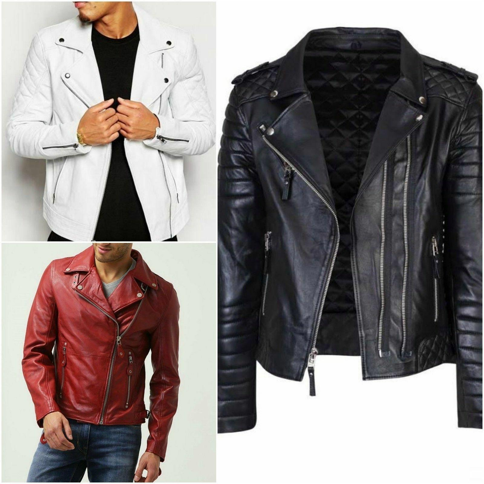 Men's Genuine Lambskin Real Leather Bomber Biker Motorcycle