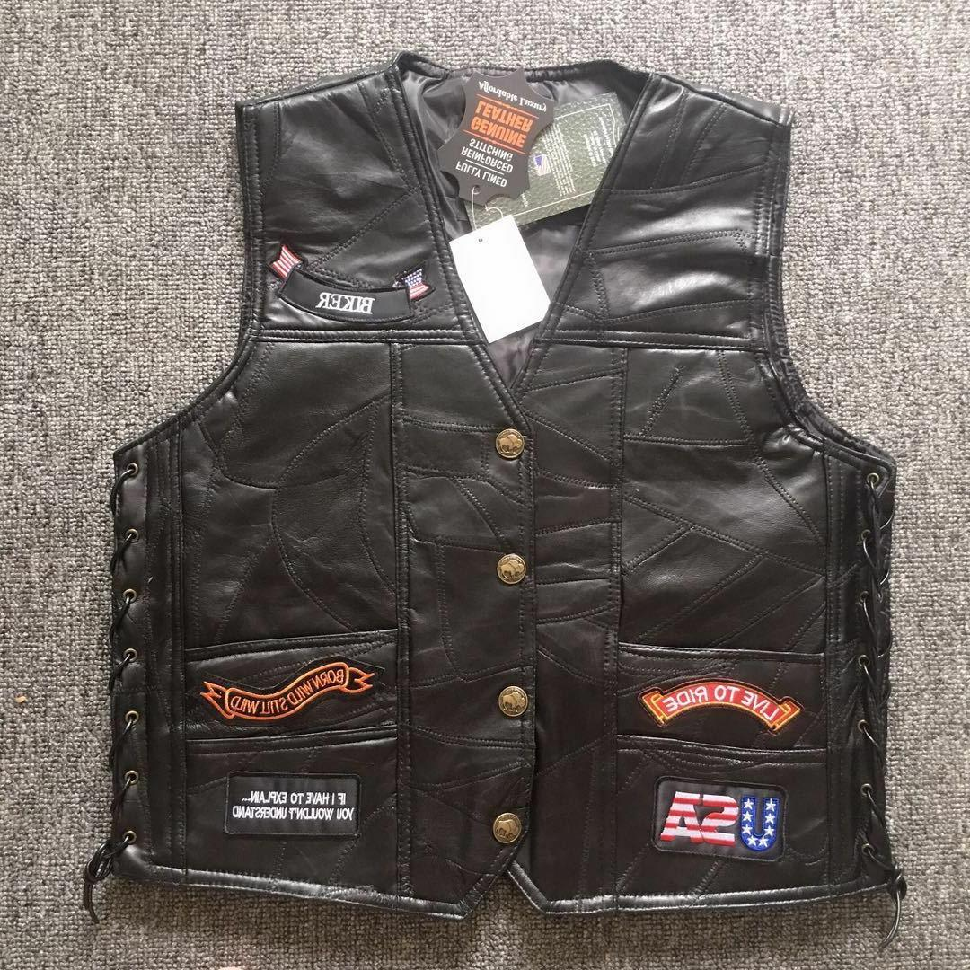Men's Genuine Leather punk Vest Carry motorcycle