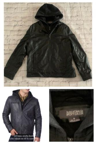 men s gray hooded faux leather moto