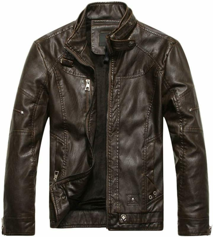 men s jacket stand collar faux leather