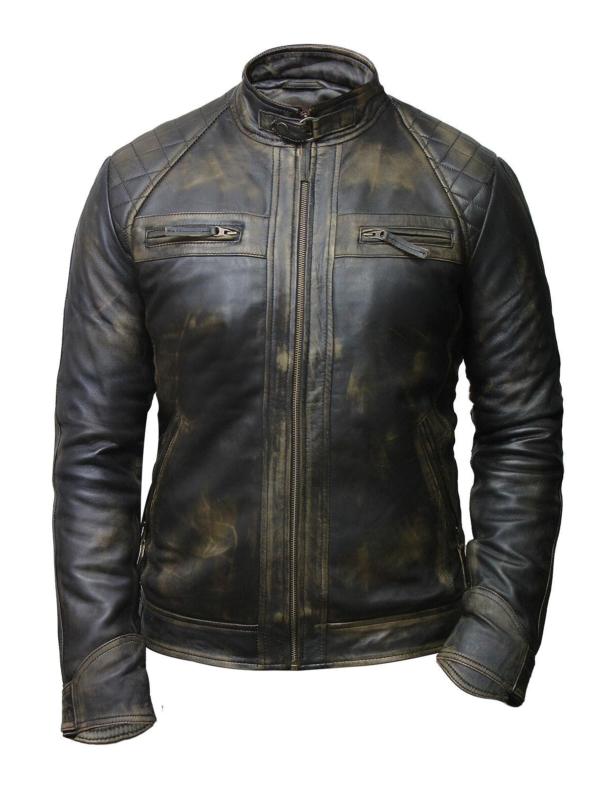 Men's Leather Biker Jacket Black 100% Real Wax Leather From