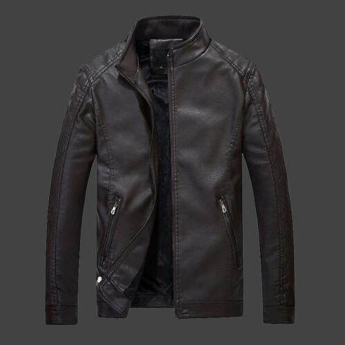 Men's Leather Outerwear Slim Casual Outwear New