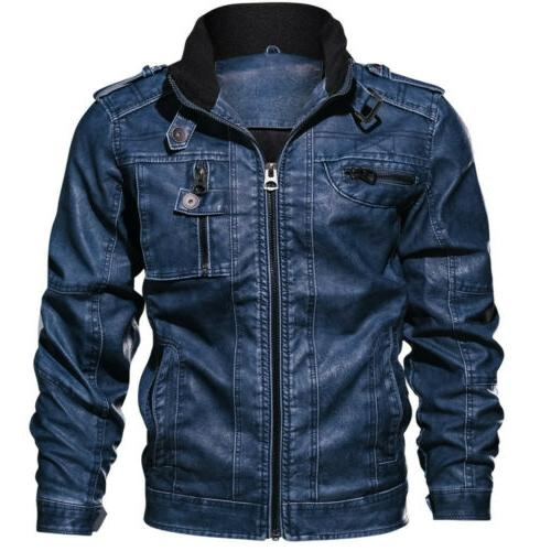 Men's Military Leather Jacket Coat Retro Cargo Multi-pocket