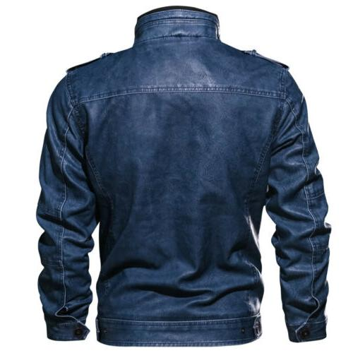 Men's Military Leather Coat Motorcycle