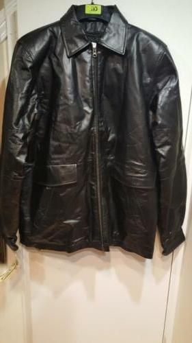 Men's out 100% Leather Jacket Coat L XL