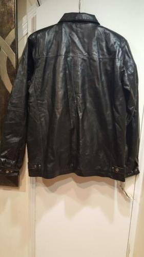 Men's Outerwear Winter zip-liner out 100% Leather Black Jacket Coat XL