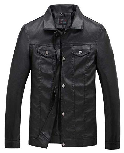 men s pu leather collar jacket casual