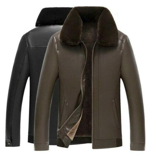 men s pu leather jacket fleece lined