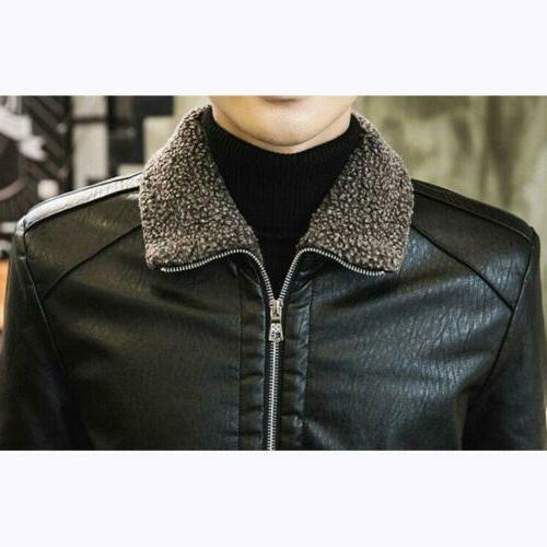 Men's PU Leather Lapel Lined Coat Winter Outwear Sz