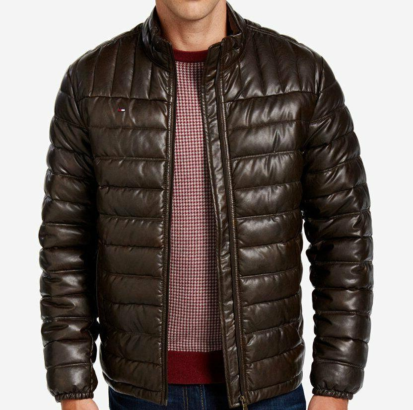 men s quilted faux leather puffer jacket