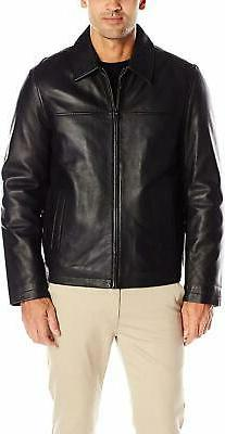 Tommy Hilfiger Men's Smooth Lamb Leather Laydown Collar Open