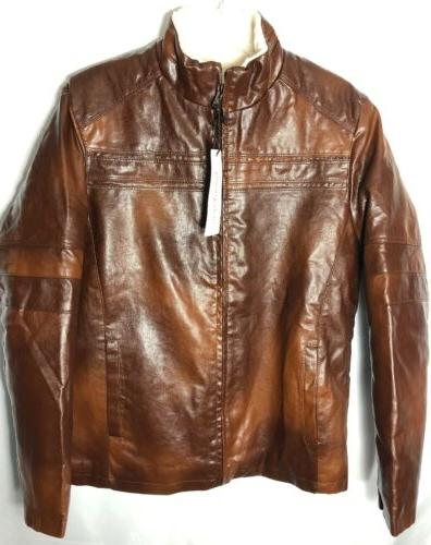 Chouyatou Men's Vintage Stand Collar Pu Leather Jacket Brown
