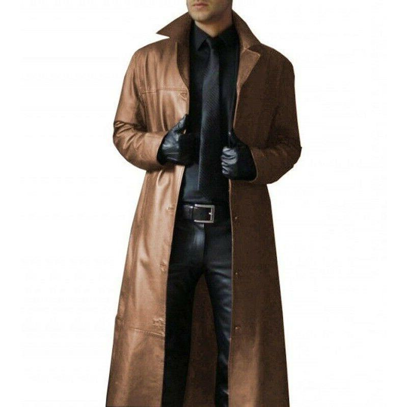 Men Winter Trench Coat Leather Cool Warm Jackets