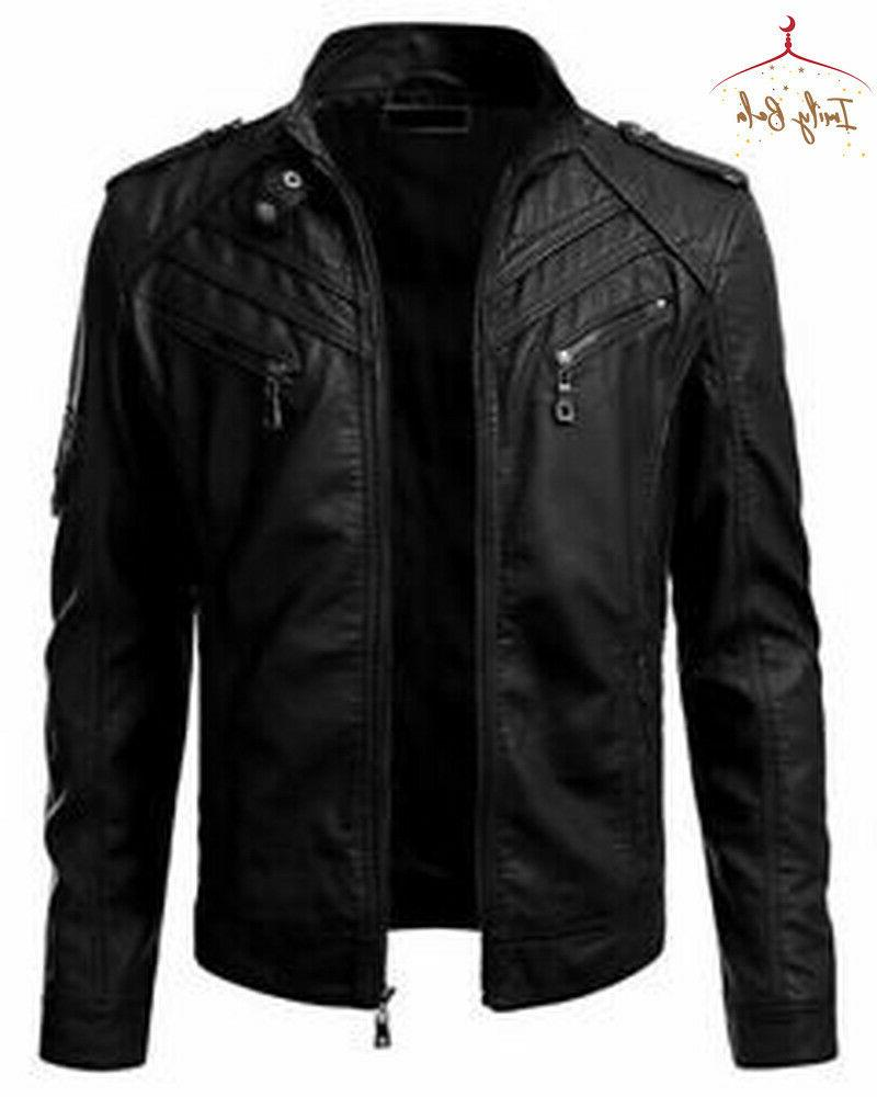 Mens Autumn Coats Leather Style Cool Motorcycle Outwear