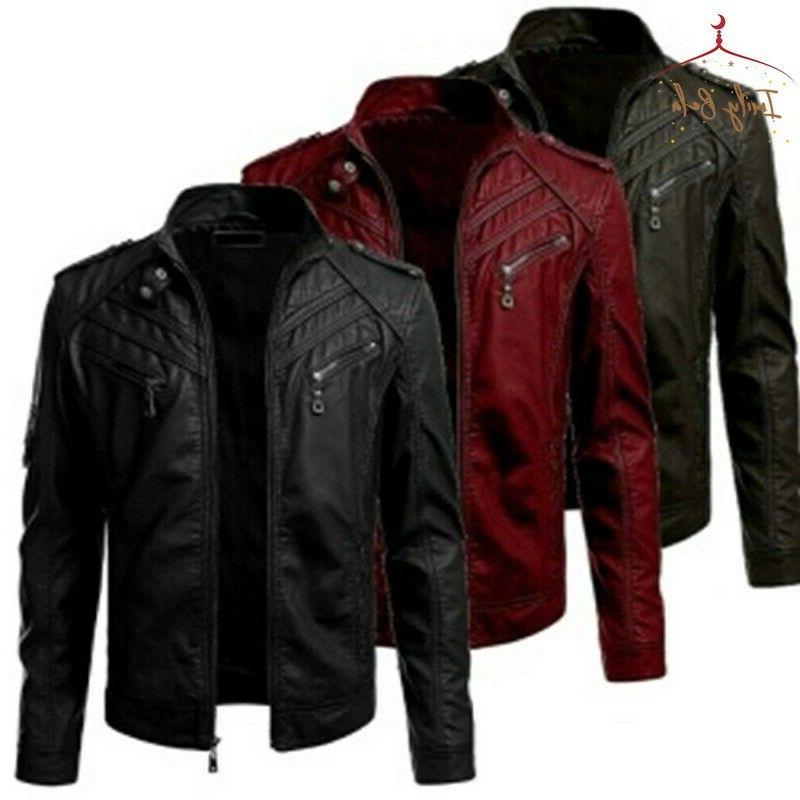 mens autumn warm slim coats leather jackets