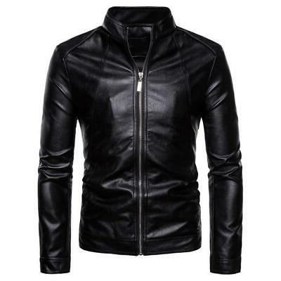 Mens Biker Stand Faux Leather Casual