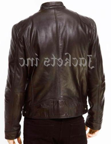 MENS BROWN REAL LEATHER VINTAGE SLIM NEW XS-3XL
