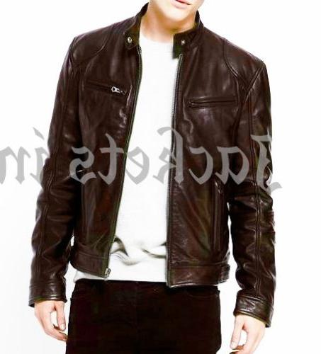 MENS BLACK REAL LEATHER SLIM FIT NEW XS-3XL