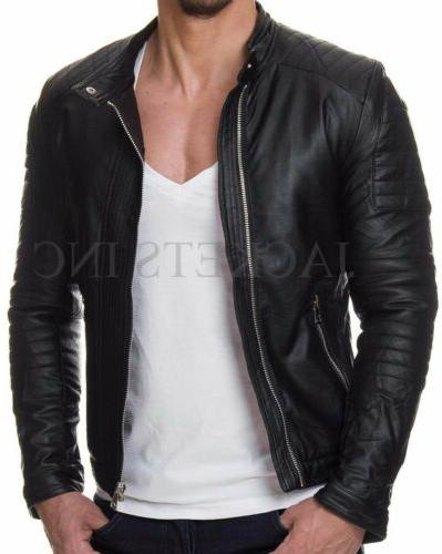 MENS BLACK GENUINE LAMBSKIN LEATHER JACKET SLIM FIT REAL BIK