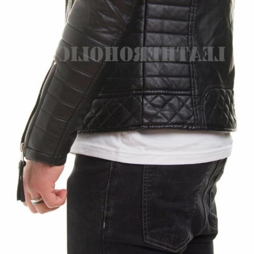 MENS GENUINE JACKET SLIM FIT BIKER XS-3XL