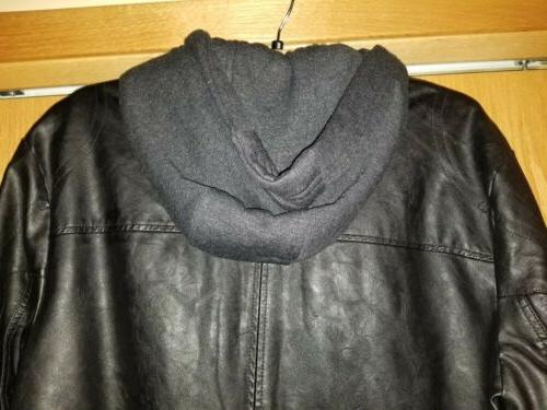 Kenneth BLACK HOODED FAUX JACKET