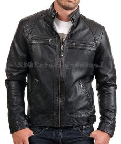 Mens Leather Jacket Genuine Leather Biker Style ST-82