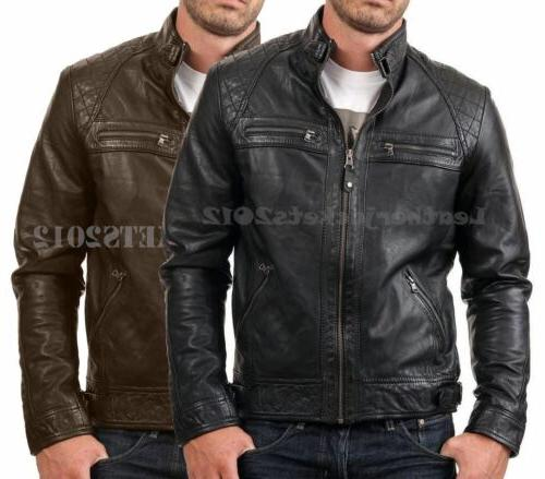 mens black leather jacket genuine sheep leather