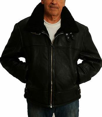 Mens Black Shearling Sheepskin  Leather Bomber Jacket by CD