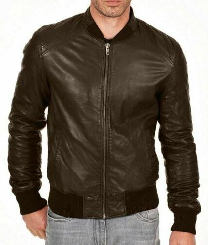 Mens Bomber Leather Varsity